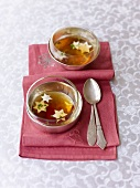 Consommé with vegetable stars for Christmas