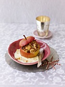Baked apple with marzipan stuffing and custard