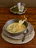 Cream of parsnip soup with parsnip crisps