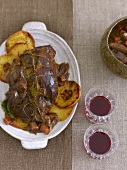 Roast wild boar with quinces