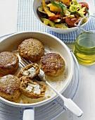 Feta burgers with lukewarm roasted vegetable salad