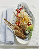 Sesame rolls with fruity rice salad