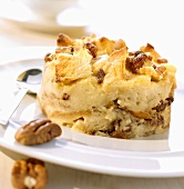 Bread pudding with raisins and pecans