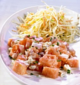 Tomato and blue cheese salad and cabbage salad