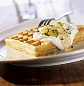 Waffles with soft cheese and honey