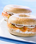 Bagels filled with smoked salmon and soft cheese
