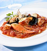 Seafood in spicy tomato and chilli sauce