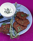 Rice burgers with herbs and fresh goat's cheese dip