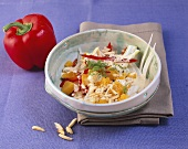 Fennel, pepper & orange salad with yoghurt dressing & almonds