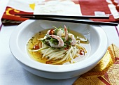 Asian noodle soup with prawns, chilli and coriander