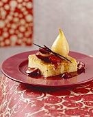 Bee sting cake with poached pear and fruit compote