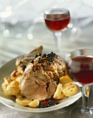 Roast veal with redcurrant sauce and potatoes