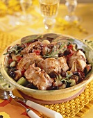 Braised rabbit with olives and rosemary