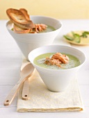 Cress soup with salmon and herbs