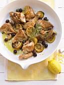 Zitronenhähnchen mit schwarzen Oliven