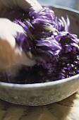 Crushing violets (for violet sugar)