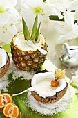 Exotic dessert with pineapple and coconut