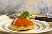 Blini with salmon caviar