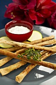 Cheese straws made with sheep's cheese with herb quark