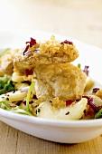 Cep in tempura batter on salad