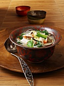 Thai soup with glass noodles, turkey and pak choi
