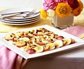 Platter of egg and potato salad