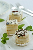 Petit fours with peppermint leaves