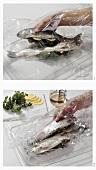 Forellen mit Kräuterfüllung im Bratschlauch garen