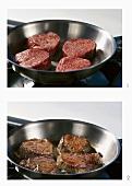Frying fillet steaks in a frying pan