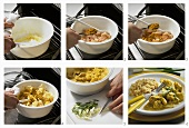 Making chicken and apple curry (microwave dish)