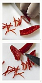 Cutting a chilli into thin strips