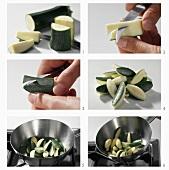 Preparing courgettes