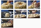 Making potato balls au gratin