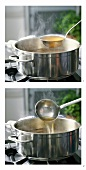 Boiling meat stock with ladle