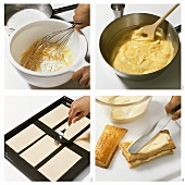 Making millefeuilles with vanilla cream filling
