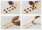 Making sweet ravioli with cherry filling