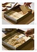 Making brioche cake with peanut filling