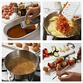 Making a marinade for turkey kebabs