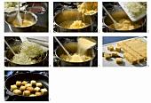 Making milho frito (Polenta cubes with white cabbage, Madeira)
