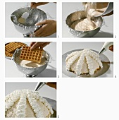 Making a dome cake with waffle base