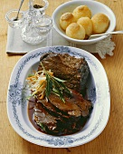 Roast beef Esterhazy style, with potato dumplings