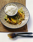 Fruity coconut curry with mince, served with basmati rice