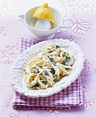 Tagliatelle with spinach and mascarpone sauce