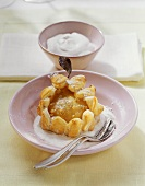 Puff pastry pear tart with cream