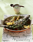 Grilled trout with lemon thyme and parsley dip