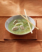 Cucumber soup with trout dumplings