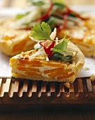 Carrot quiche with apple and coriander salad