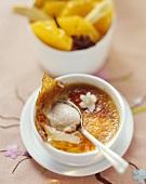 Jasmine tea crème brûlée with spiced oranges