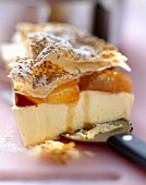 Puff pastry with stewed peaches & apricots & white chocolate cream