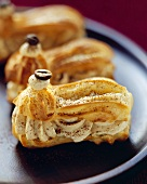 Éclairs filled with coffee cream